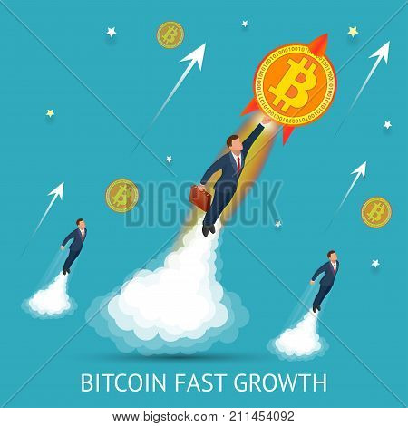 Bitcoin is fast growing. Digital currency, technology worldwide network concept. Businessman takes off with a coin bitcoin
