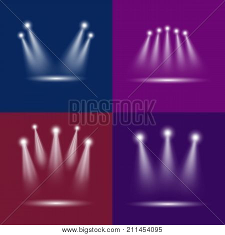 Realistic Light Scenic Spotlight Card Poster Set for Concert, Stage, Scene and Show on Color Background. Vector illustration
