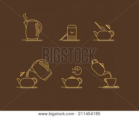 Tea Brewing Thin Line Set Making Instruction, Concept for Menu Cafe, Hotel. Vector illustration