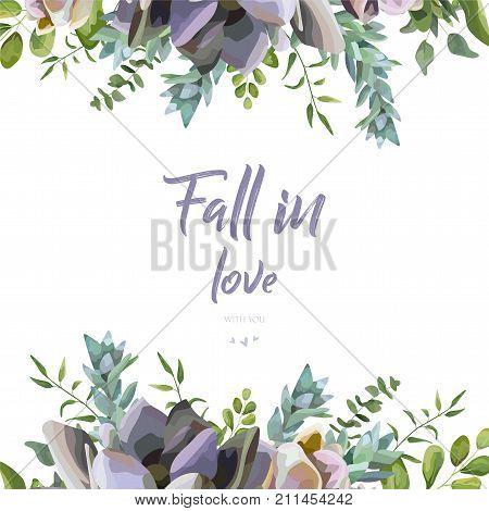 Vector floral card design: Succulent flower plant watercolor hand drawn beautiful border. Vector elegant art of greenery eucalyptus green leaf illustration. Lovely botanical cactus frame & copy space