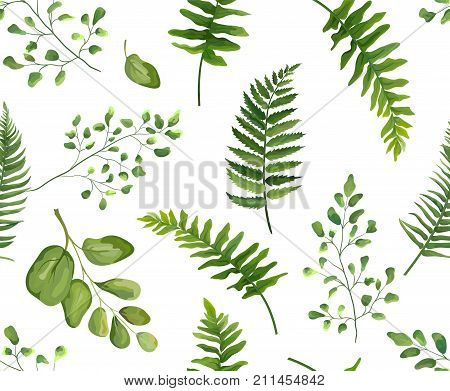 Seamless greenery green leaves botanical rustic pattern Vector floral watercolor style design: forest fern frond leaf herbs. Nature Wallpaper natural texture trendy print isolated white background