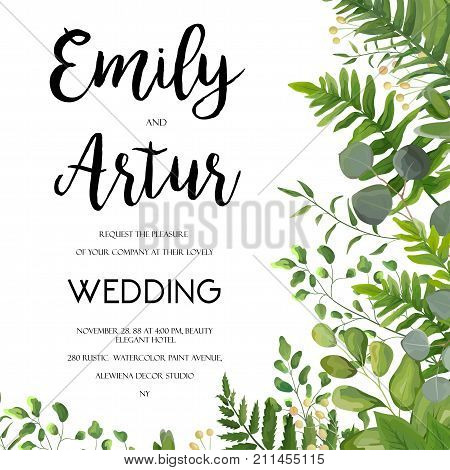 Wedding Invitation floral invite card Design with green fern leaves elegant greenery berry eucalyptus forest bouquet corner frame border print. Vector garden anniversary cute illustration template