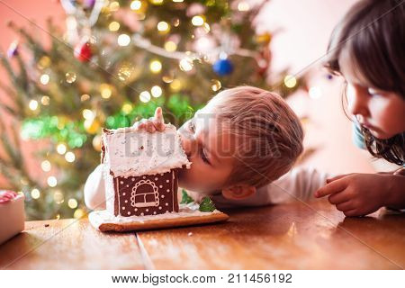 Cute little boy nibbling a gingerbread cookie house at christmas time