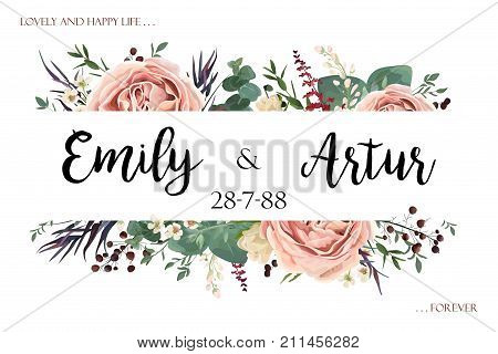 Wedding invite invitation save the date card floral watercolor style design: Lavender antique pink garden Rose Eucalyptus agonis leaf herb berry frame border. Vector boho vintage postcard copy space