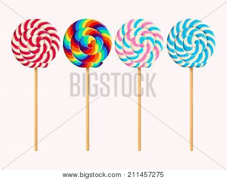 Vector set of four striped varicolored lollipops