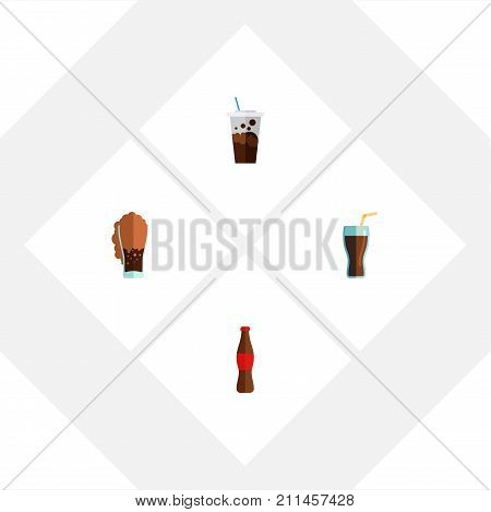 Flat Icon Beverage Set Of Fizzy Drink, Juice, Carbonated And Other Vector Objects