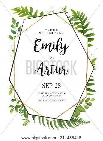 Vector floral design card. Green fern forest leaves herb plant greenery mix. Natural botanical Greeting wedding invitation invite template. Geometrical polyhedron golden Frame border with copy space