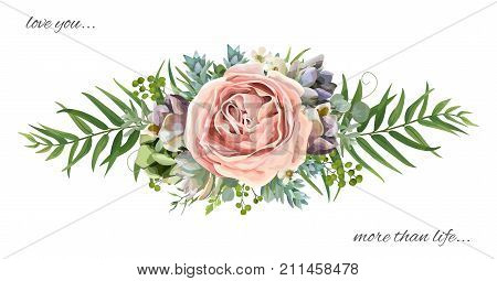 Vector floral bouquet design: garden pink peach lavender Rose wax flower Eucalyptus branch green fern palm leaves succulent berry. Wedding vector invite illustration Watercolor designer cute element