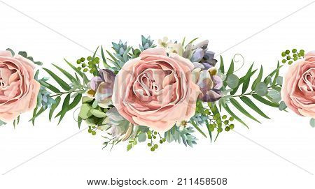 Vector floral seamless pattern bouquet design: garden pink peach lavender Rose wax flower Eucalyptus branch green fern palm leaves succulent berry illustration Watercolor designer cute border divider