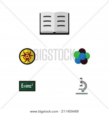 Flat Icon Science Set Of Glass, Proton, Danger And Other Vector Objects