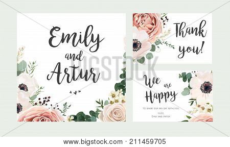 Wedding Invitation floral invite card vector Design: garden lavender pink peach Rose white Anemone wax green Eucalyptus thyme leaves elegant greenery berry forest bouquet print. Rsvp thank you set