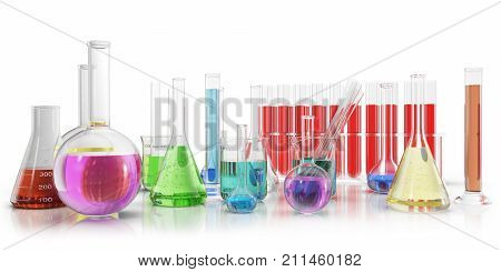 Transparent glass chemical flasks full off colored liquid and empty beaker isolated on background, 3d rendering
