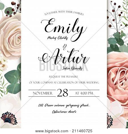 Floral Wedding Invitation elegant invite card vector Design: garden flower lavender pink peach Rose white wax Anemone green blue Eucalyptus elegant greenery berry bouquet print frame with copy space