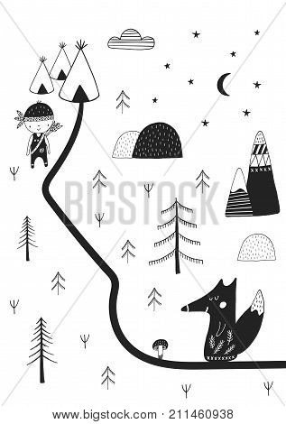 Cute Hand Drawn Nursery Poster With Wild Cartoon Animal In Scandinavian Style.