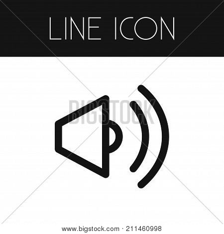 Volume Vector Element Can Be Used For Volume, Sound, Bullhorn Design Concept.  Isolated Sound Outline.