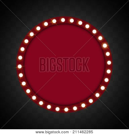 Red Shining retro billboard. Vintage electric signboard with bright neon ligh board for design on transparent background. Vector illustration.