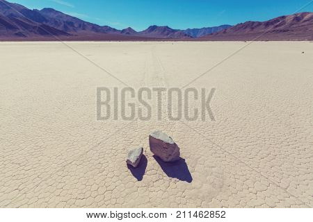Racetrack Playa at Death Valley - moving rocks in California, USA