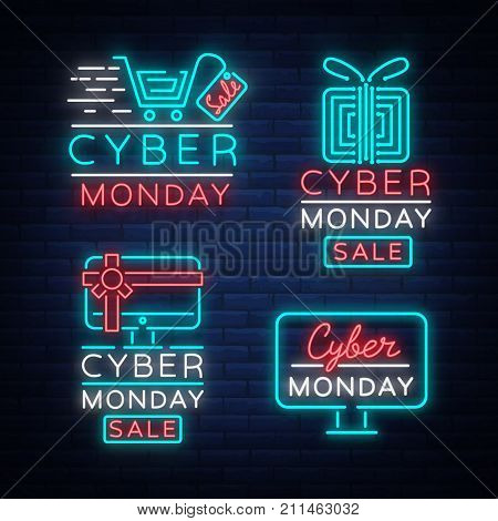 Big set Cyber Monday, illustration discount sale concept in neon style, online shopping and marketing concept, vector illustration. Neon luminous signboard, bright banner, illuminated advertisement.
