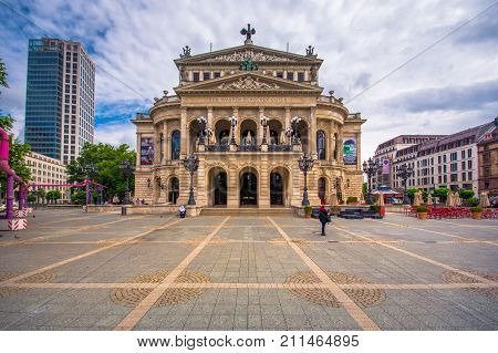 The original opera house in Frankfurt is now the Alte Oper (Old Opera), a concert hall and former opera house in Frankfurt am Main, Germany on July 11, 2017.
