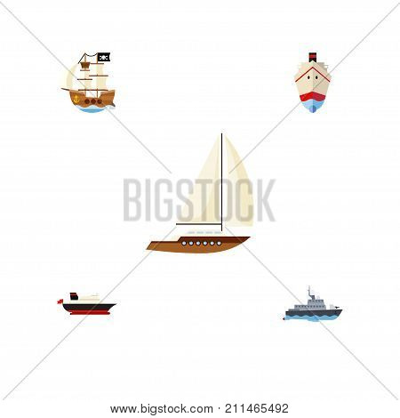 Flat Icon Vessel Set Of Yacht, Vessel, Cargo And Other Vector Objects