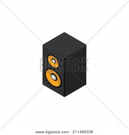 Music Box Vector Element Can Be Used For Loudspeaker, Music, Box Design Concept.  Isolated Loudspeaker Isometric.