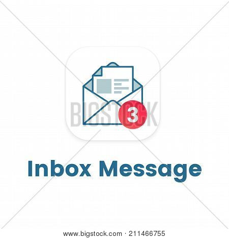 Inbox message symbol flat icon. Incoming mail with counter. Text message mail vector symbol