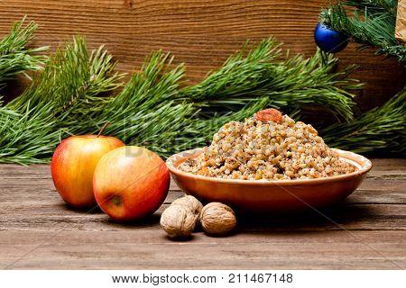 Dish With Kutia. Traditional Christmas Treat Of The Slavs On Christmas Eve. Fur-tree Branch And  App
