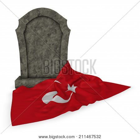 gravestone and flag of turkey - 3d rendering