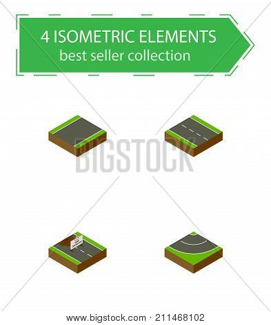 Isometric Way Set Of Repairs, Unilateral, Single-Lane And Other Vector Objects