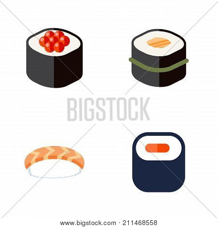 Flat Icon Maki Set Of Seafood, Sushi, Maki And Other Vector Objects