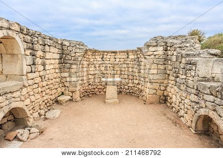 The ruins of ancient city of Chersonesus Taurica in the Crimea peninsula under the cloudy sky, archaeological park, museum preserve, Sevastopol, Autumn