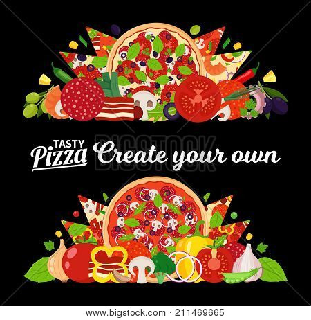 Vector Pizza Illustration With Many Ingredients