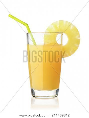 Front view of pineapple juice glass isolated on white