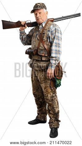 Male standing hunter grey hair white background shooting