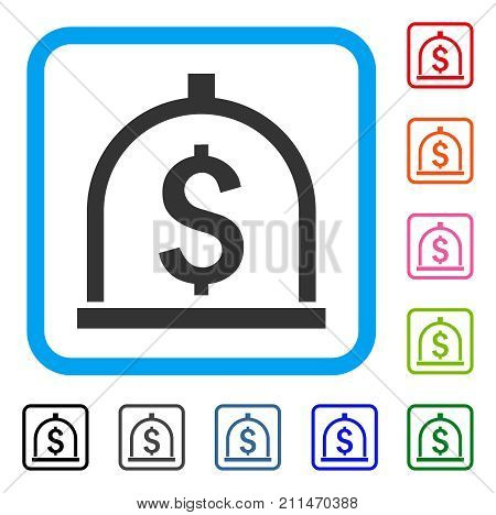 Dollar Deposit icon. Flat grey pictogram symbol in a blue rounded squared frame. Black, gray, green, blue, red, orange color versions of Dollar Deposit vector. Designed for web and application UI.