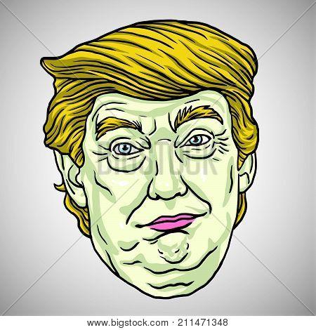 Donald Trump Face. Vector Cartoon Illustration. October 30, 2017