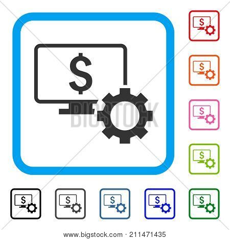 Financial Monitoring Options icon. Flat gray pictogram symbol in a blue rounded squared frame. Black, gray, green, blue, red, orange color versions of Financial Monitoring Options vector.