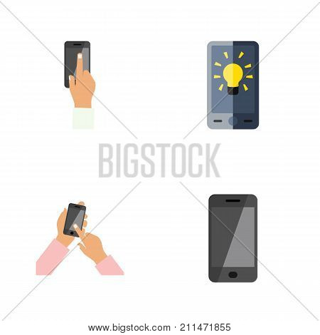 Flat Icon Touchscreen Set Of Screen, Interactive Display, Touchscreen And Other Vector Objects