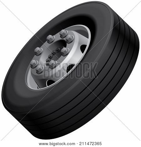 High quality vector illustration of typical light truck fore wheel isolated on white background. File contains gradients blends and transparency. No strokes.