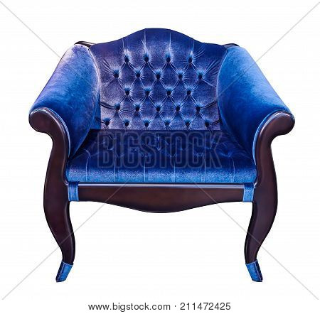 Blue classical style armchair with coach-type screed capitone isolated on white background. Vintage chair upholstered velour velvet plush fabric