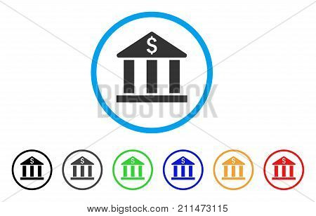 Bank Building rounded icon. Style is a flat gray symbol inside light blue circle with bonus colored variants. Bank Building vector designed for web and software interfaces.
