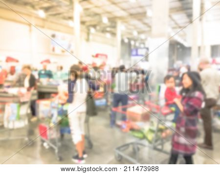 Blurred Long Queue At Wholesale Store Checkout Counter