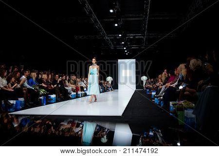 MOSCOW RUSSIA - OCTOBER 28 2017: Model walk runway for SVETLANA EVSTIGNEEVA and BERETKAH catwalk at Spring-Summer 2018 Season Moscow Fashion Week.