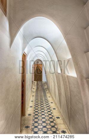 Catenary Arcs In Penthouse Of Casa Batllo, Barcelona, Catalonia, Spain