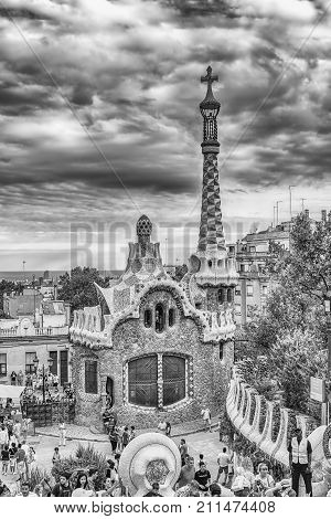 Modernist Building In Park Guell, Barcelona, Catalonia, Spain