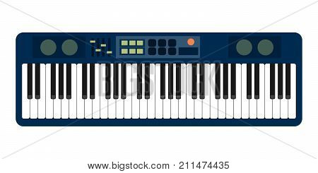 color flat style vector grey blue piano roll analog synthesizer faders buttons knobs display on white background EPS