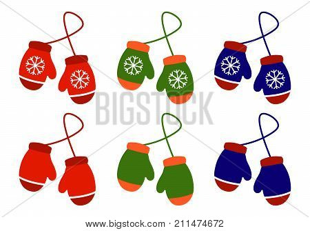 Vector set illustration pair of knitted christmas mittens on whitebackground. Mitten icon. Christmas greeting card with mittens Eps 10