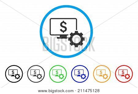 Financial Monitoring Options rounded icon. Style is a flat grey symbol inside light blue circle with bonus color versions. Financial Monitoring Options vector designed for web and software interfaces.