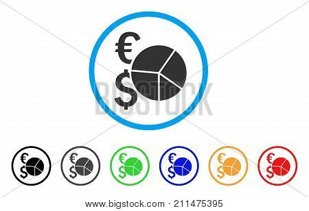Financial Pie Chart rounded icon. Style is a flat grey symbol inside light blue circle with additional colored variants. Financial Pie Chart vector designed for web and software interfaces.
