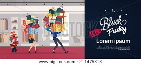 Black Friday Poster With Family Carry Stack Of Presents Over Shop Background Holiday Seasonal Sale Concept Flat Vector Illustration